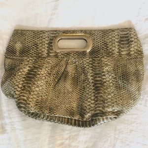 Steve Madden Grey Snakeskin Clutch